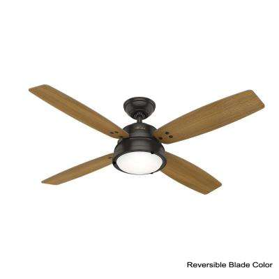 Wingate 52 in. LED Indoor Noble Bronze Ceiling Fan with Light Kit and Handheld Remote