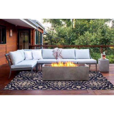 Aurora Grain and Navy 9 ft. x 13 ft. Indoor/Outdoor Area Rug