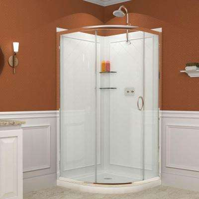 Solo 38 in. x 38 in. x 76.75 in. Corner Sliding Shower Enclosure in Chrome with White Acrylic Base and Back Walls Kit
