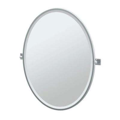 Elevate 28.25 in. x 33 in. Framed Single Large Oval Mirror in Chrome