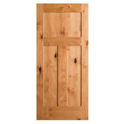 Krosswood Craftsman Rustic Knotty Alder 3-Panel Shaker Solid Core Prehung Interior Door