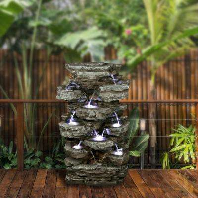 Alpine Corporation Multi-Tiered Rock Pond Outdoor Waterfall Fountain with LED Lights