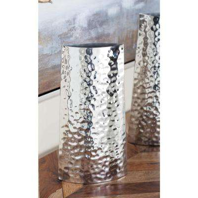 13 in. Hammered Stainless Steel Decorative Vase in Silver