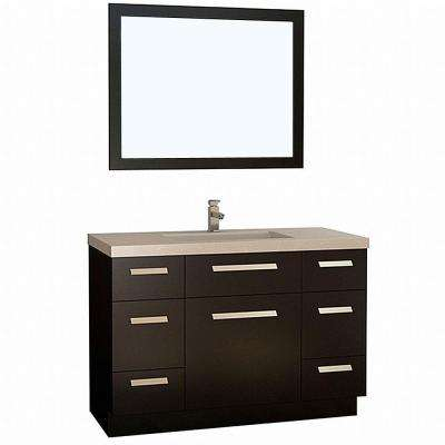 Moscony 48 in. W x 22 in. D Vanity in Espresso with Quartz Vanity Top and Mirror in White