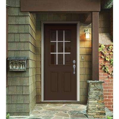 30 in. x 80 in. 9 Lite Dark Chocolate Painted Steel Prehung Left-Hand Inswing Front Door w/Brickmould
