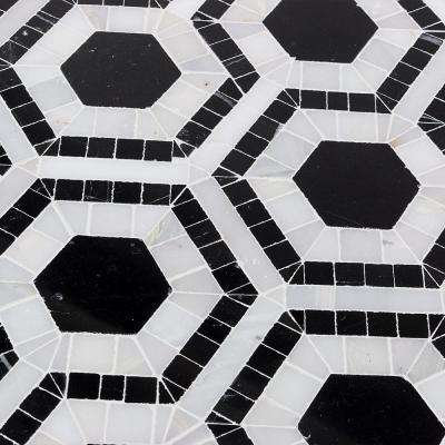Kosmos Black and Asian Statuary Hexagon Marble Mosaic Tile - 3 in. x 6 in. Tile Sample