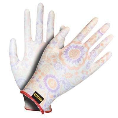 Ladies Nylon Glove with White Polyurethane Coating and Printed Fabric (4-Pair)