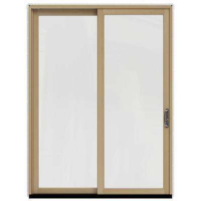 71.25 in. x 95.5 in. W-2500 Brilliant White Prehung Right-Hand Sliding 1-Lite Pine Patio Door with Unfinished Interior