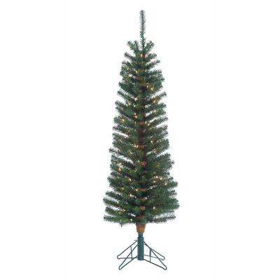 5 ft. Pre-Lit Narrow Pencil Fir Artificial Christmas Tree with Clear Lights