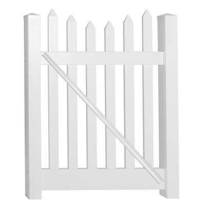 Hampshire 4 ft. W x 5 ft. H White Vinyl Picket Fence Gate