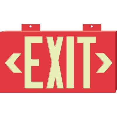8-1/4 in. x 15-1/4 in. Glow-in-the-Dark Plastic Exit Sign with Red background