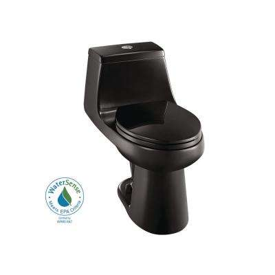 1-piece 1.1 GPF/1.6 GPF High Efficiency Dual Flush Elongated All-in-One Toilet in Black