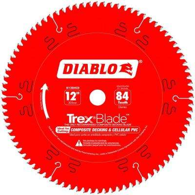 12 in. x 84-Tooth Trex/Composite Material Cutting Saw Blade