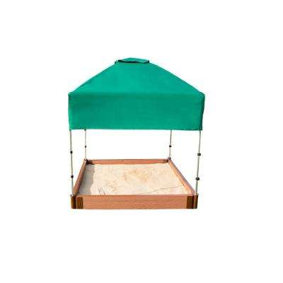 4 ft. x 4 ft. x 5.5 in. Square Sandbox Composite with Telescoping Canopy/Cover (2 in. Profile)