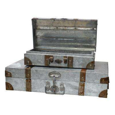 13 in. x 20 in. Aged Galvanized Suitcase (Set of 2)