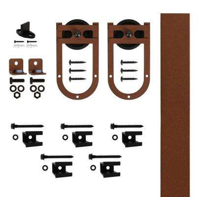 Horse Shoe Strap New Age Rust Rolling Barn Door Hardware Kit with 3 in. Wheel for Doors Up to 1-3/4 in. Thick