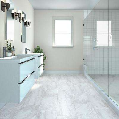 QuicTile 12 in. x 24 in. Enchanting Marble Matte Porcelain Locking Floor Tile (9.6 sq. ft. / case)