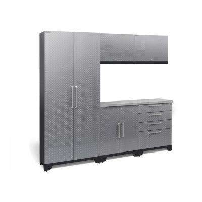 Performance Diamond Plate 2.0 72 in. H x 78 in. W x 18 in. D Garage Cabinet Set in Silver (6-Piece)