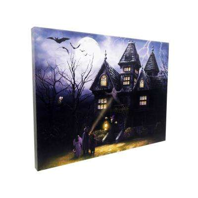 15 in. x 20 in. Halloween Haunted House LED Canvas with Sound