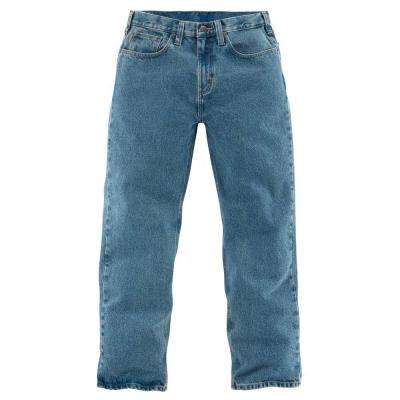 Men's Light Vintage Blue Cotton Straight Leg Denim Bottoms