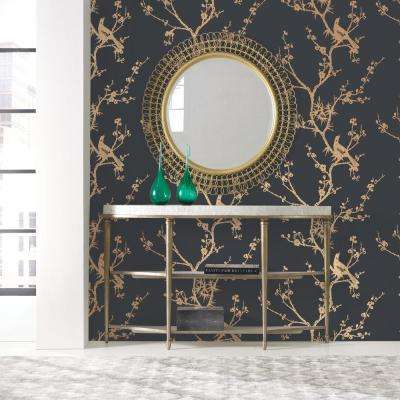 Cynthia Rowley for Tempaper Bird Watching Black and Gold Self-Adhesive Removable Wallpaper