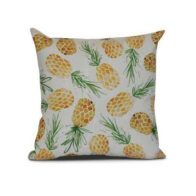 16 in. Tossed Pineapples Pillow in Gold