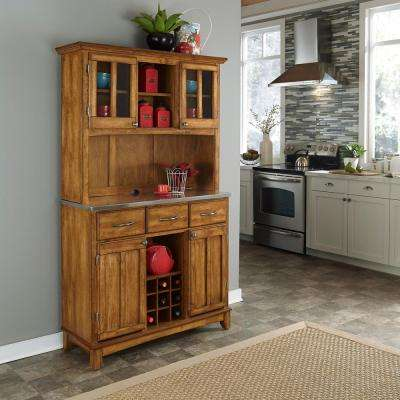 3 Drawer 44 in. W Cottage Oak Buffet with Stainless Top and Hutch