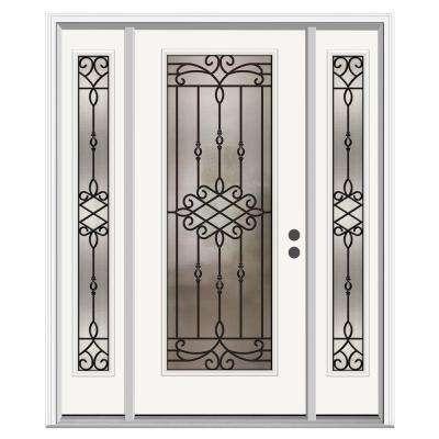 Sanibel Full Lite Primed Steel Prehung Front Door with 14 in. Sidelites