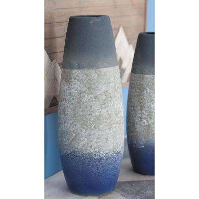 18 in. Modern Blue and Gray Ceramic Decorative Vase