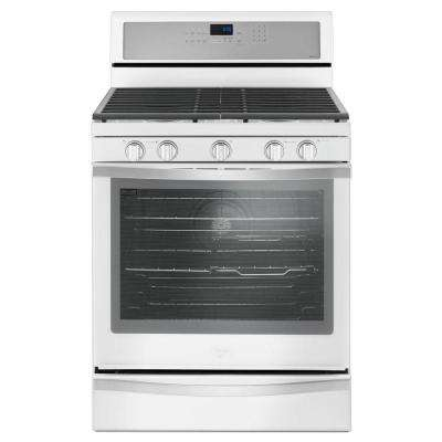 5.8 cu. ft. Freestanding Gas Range with Center Oval Burner in White Ice