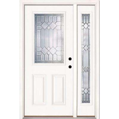 50.5 in. x 81.625 in. Mission Pointe Zinc 1/2 Lite Unfinished Smooth Left-Hand Fiberglass Prehung Front Door w/ Sidelite