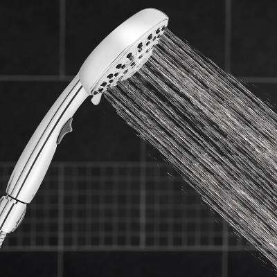 6-Spray 4.8 in. Single Wall Mount  Handheld Adjustable Shower Head in Chrome