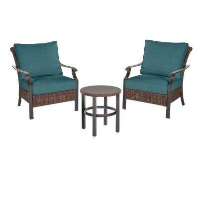 Harper Creek 3-Piece Brown Steel Outdoor Patio Chair Set with CushionGuard Charleston Blue-Green Cushions