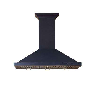 ZLINE 36 in. Wall Mount Range Hood in Black with Copper Accents