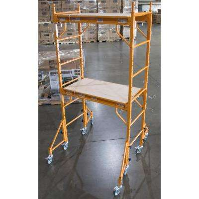 7 ft. x 3.5 ft. x 2 ft. Mini Rolling Interior Scaffold Tower Set with Outriggers and Lockable Casters for Support