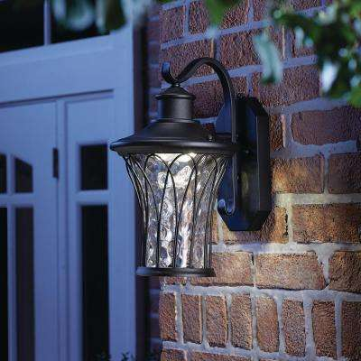 Black Outdoor LED Dusk to Dawn Wall Lantern Sconce