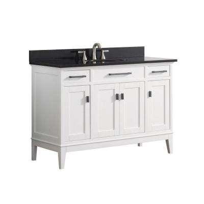 Madison 49 in. W x 22 in. D x 35 in. H Vanity in White with Granite Vanity Top in Black with White Basin