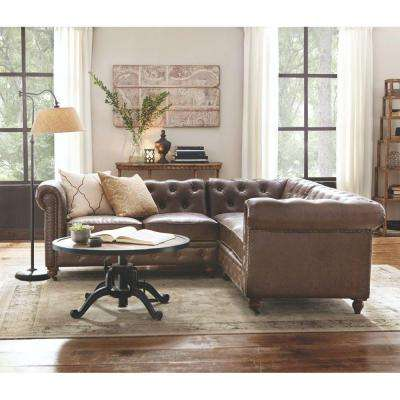 Living Room Leather Sectionals sectionals - living room furniture - the home depot