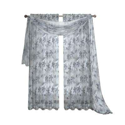 Ashville Printed Gray Sheer Curtain Scarf, 54 in. W x 216 in. L