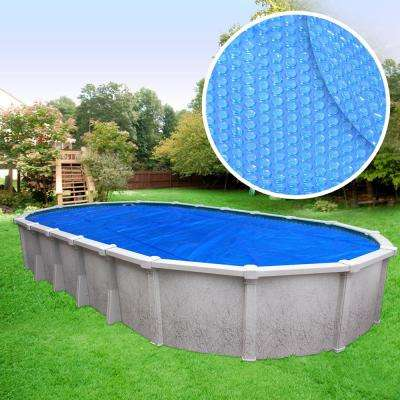 Heavy-Duty 3-Year Oval Blue Solar Cover Pool Blanket