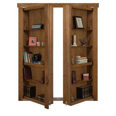 60 in. x 80 in. Flush Mount Assembled Hickory Medium Stained Out-Swing Solid Core Interior French Bookcase Door