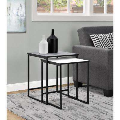 Stewart Gray and White 2-Piece Nesting End Table
