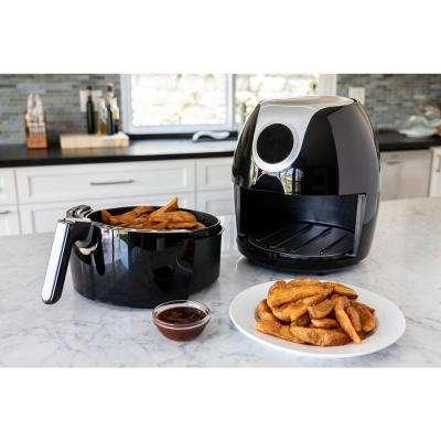 Premium 5.6 Qt. XL BPA FREE Compact Countertop Digital Air Fryer with Dishwasher Safe Basket & Free Recipe Book - Black