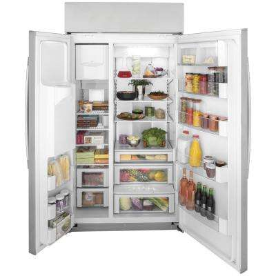Profile 24.3 cu. ft. Smart Built-In Side by Side Refrigerator in Stainless Steel