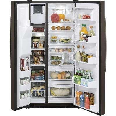 33 in. W 22.5 cu. ft. Side by Side Refrigerator in Slate, Fingerprint Resistant