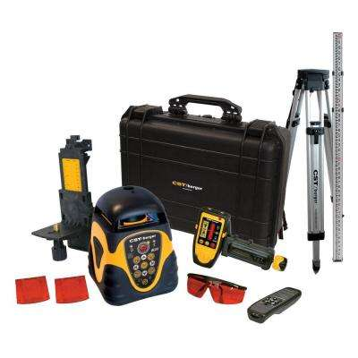 Rotary Laser Level Horizontal or Vertical Kit with Detector, Tripod and Rod (10-Piece)