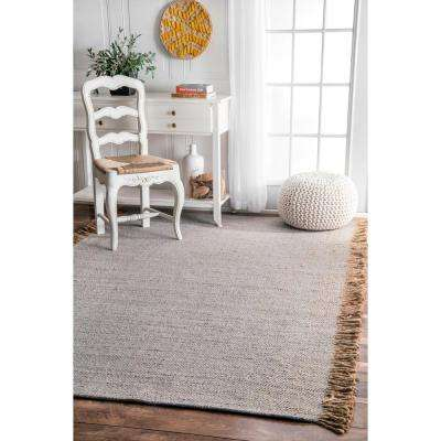 Solid Tassel Amalia Grey 3 ft. x 8 ft. Runner Rug
