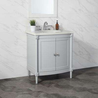 Parkcrest 30 in. W x 22 in. D Vanity in Dove Grey with Marble Top in White with White Sink