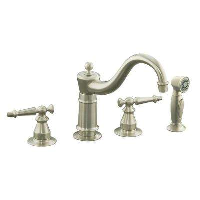 Antique 2-Handle Standard Kitchen Faucet in Vibrant Brushed Nickel