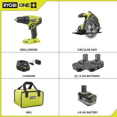 18-Volt Cordless ONE+ Drill/Driver, Circular Saw Kit with (2) 1.5 Ah Batteries, Charger, and Bag